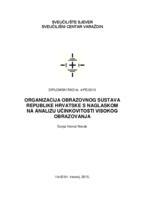prikaz prve stranice dokumenta Organizacija obrazovnog sustava Republike Hrvatske s naglaskom na analizu učinkovitosti visokog obrazovanja