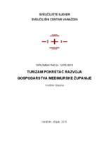 prikaz prve stranice dokumenta Turizam pokretač razvoja gospodarstva Međimurske županije
