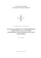 prikaz prve stranice dokumenta Uloga suplemenata i prehrambenih proizvoda u kvalitetnom osiguranju acido-baznog statusa organizma
