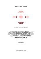 prikaz prve stranice dokumenta Akutni apendicitis i učestalost infekcije operacijske rane kod klasične i laparoskopske apendektomije
